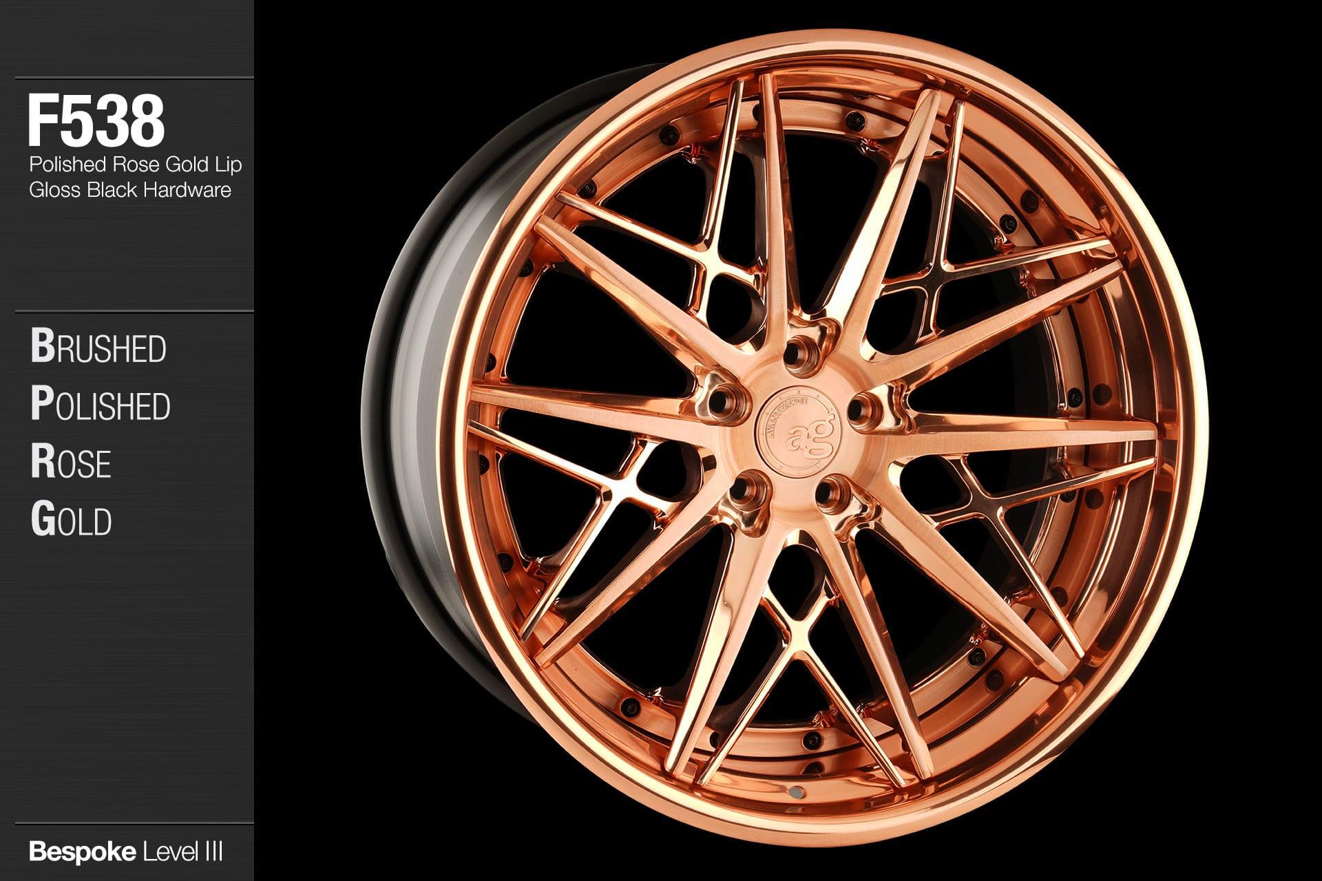 Avant Garde Wheels Ag F Brushed Polished Rose Gold Face Lip Gloss Black Hardware