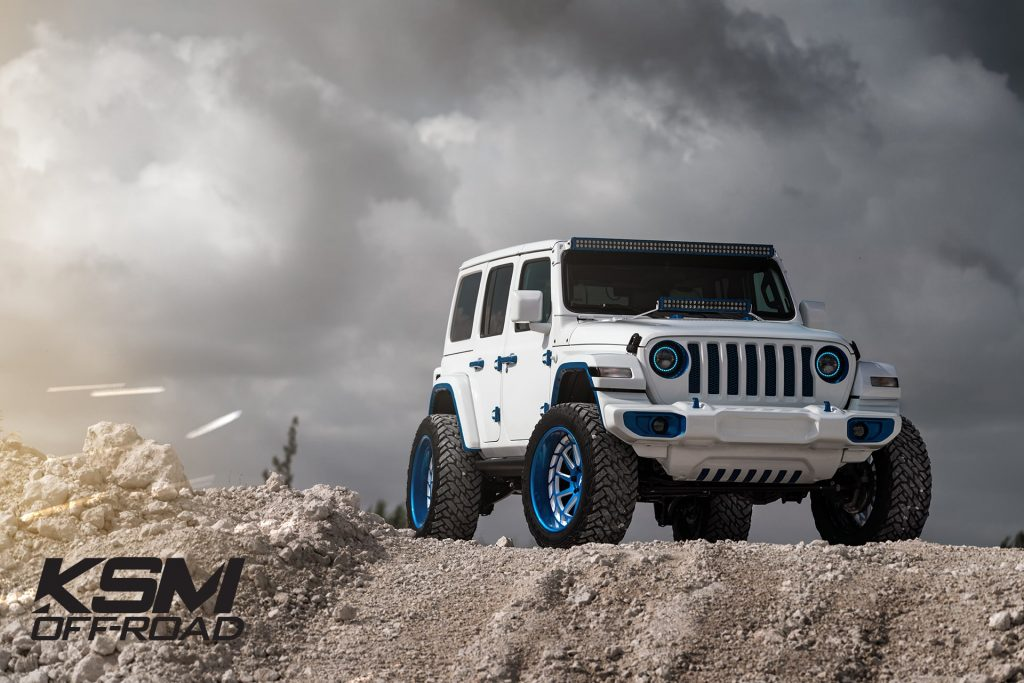 jeep wrangler ksm offroad wheels ksm09 three piece custom forged concave brushed electron blue white windows two tone mccustoms miami 4x4 truck
