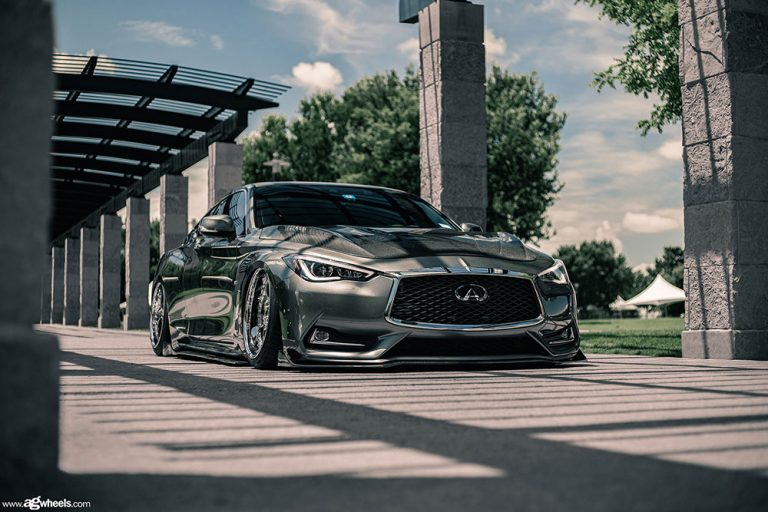 Infiniti Q60 on Avant Garde F233 finished in Chrome center, lip and hardware.