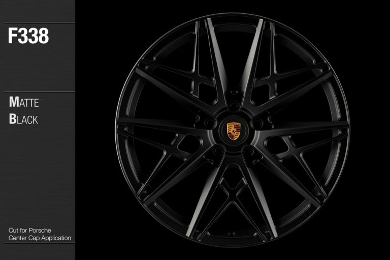 Avant Garde Wheels F338 forged monoblock wheels in Matte Black finish cut for Porsche center cap application.